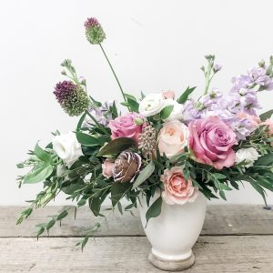 Living Fresh - Pink in Pink Pastel Flower Vase Arrangement