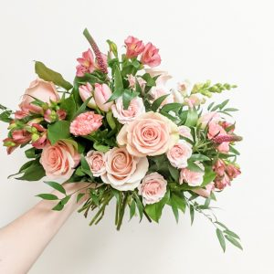 Living Fresh - Pink in Pink Hand-tied Flower Bouquet
