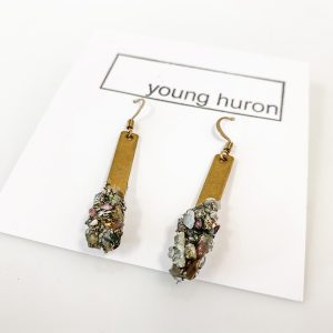 Living Fresh Flower and Plant Studio - Crystal Brass Bar Earrings