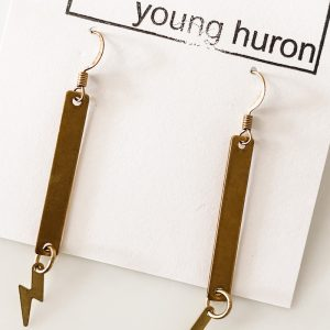 Living Fresh Flower and Plant Studio - Zig Zags Brass Bar Earrings