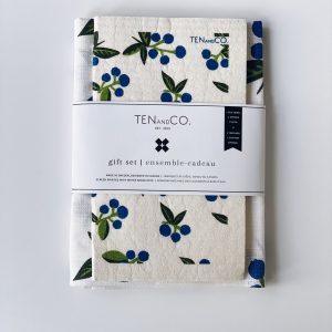 Living Fresh Flower and Plant Studio - Blueberry Teatowel and Sponge Cloth Set