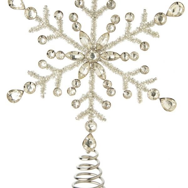 Living Fresh Flower and Plant Studio - Silver Glass Bead Snowflake Tree Topper