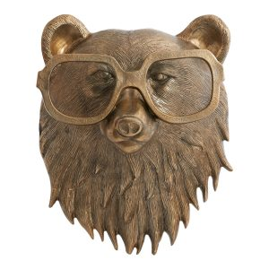 Living Fresh Flower and Plant Studio - Brass Fox with Glasses Wall Mount