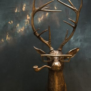 Living Fresh Flower and Plant Studio -Stag with Glasses Wall Mount