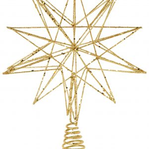 Living Fresh Flower and Plant Studio - Gold Glittered Star Tree Topper - Large