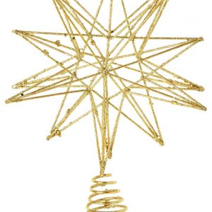 Living Fresh Flower and Plant Studio - Gold Glittered Star Tree Topper - Small