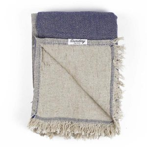 Living Fresh Flower and Plant Studio - Sunday Dry Goods - Linen Throw- Navy